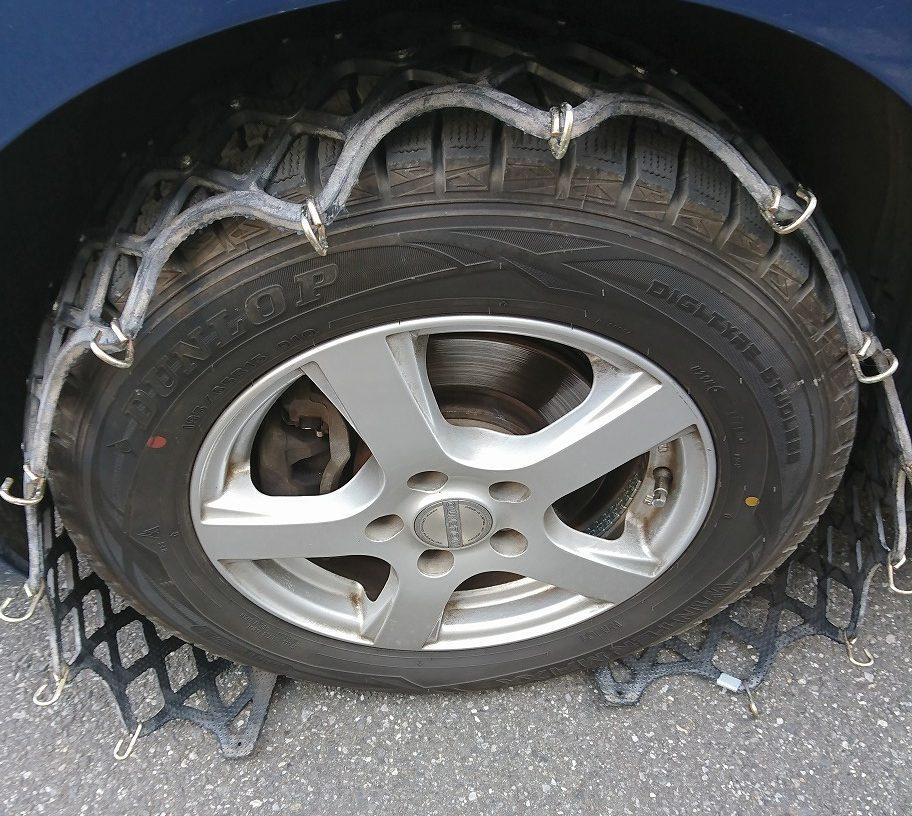 車タイヤチェーンの付け方