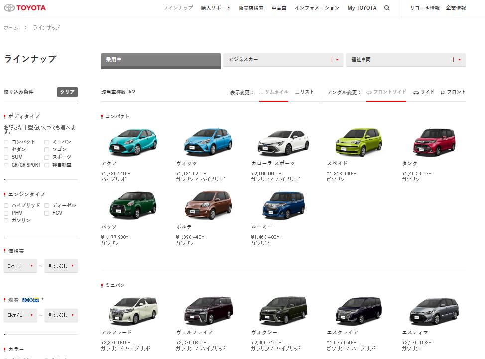トヨタ ラインナップ I トヨタ自動車WEBサイト