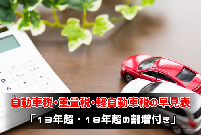 自動車税・重量税・軽自動車税の早見表:サムネイル