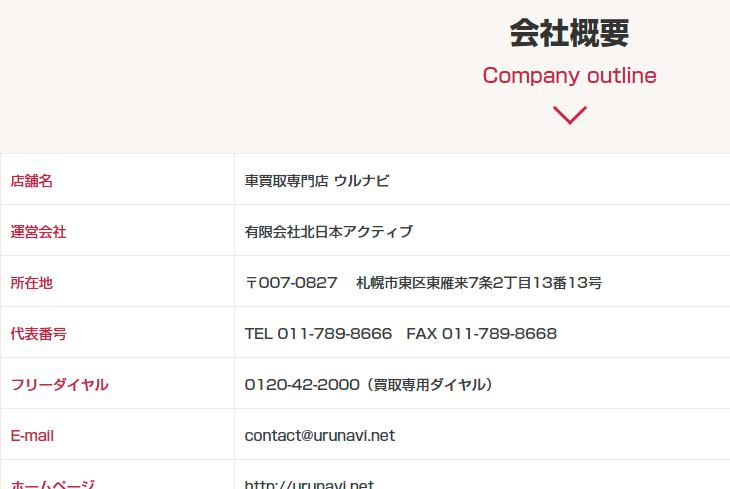 会社概要|「売りたい」に最高額でお応え!|札幌の車買取専門店ウルナビ